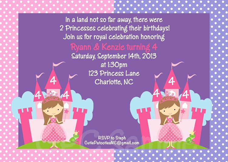 Pink And Purple Princess Birthday Invitation For Twins Or